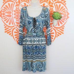 Velvet by Graham Spencer blue paisley dress L